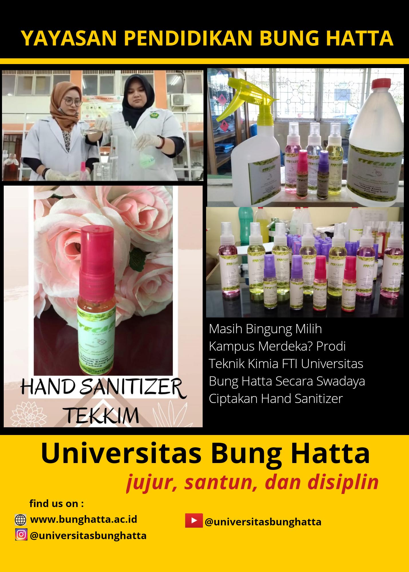Prodi Teknik Kimia Secara Swadaya Ciptakan Hand Sanitazer untuk Pencegahan Covid-19