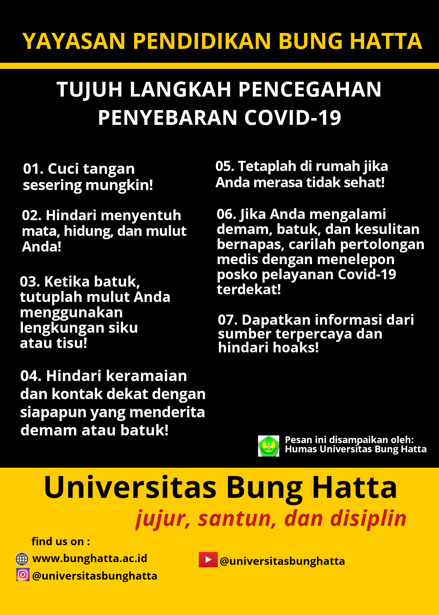 Tujuh Pencegahan Penyebaran COVID-19