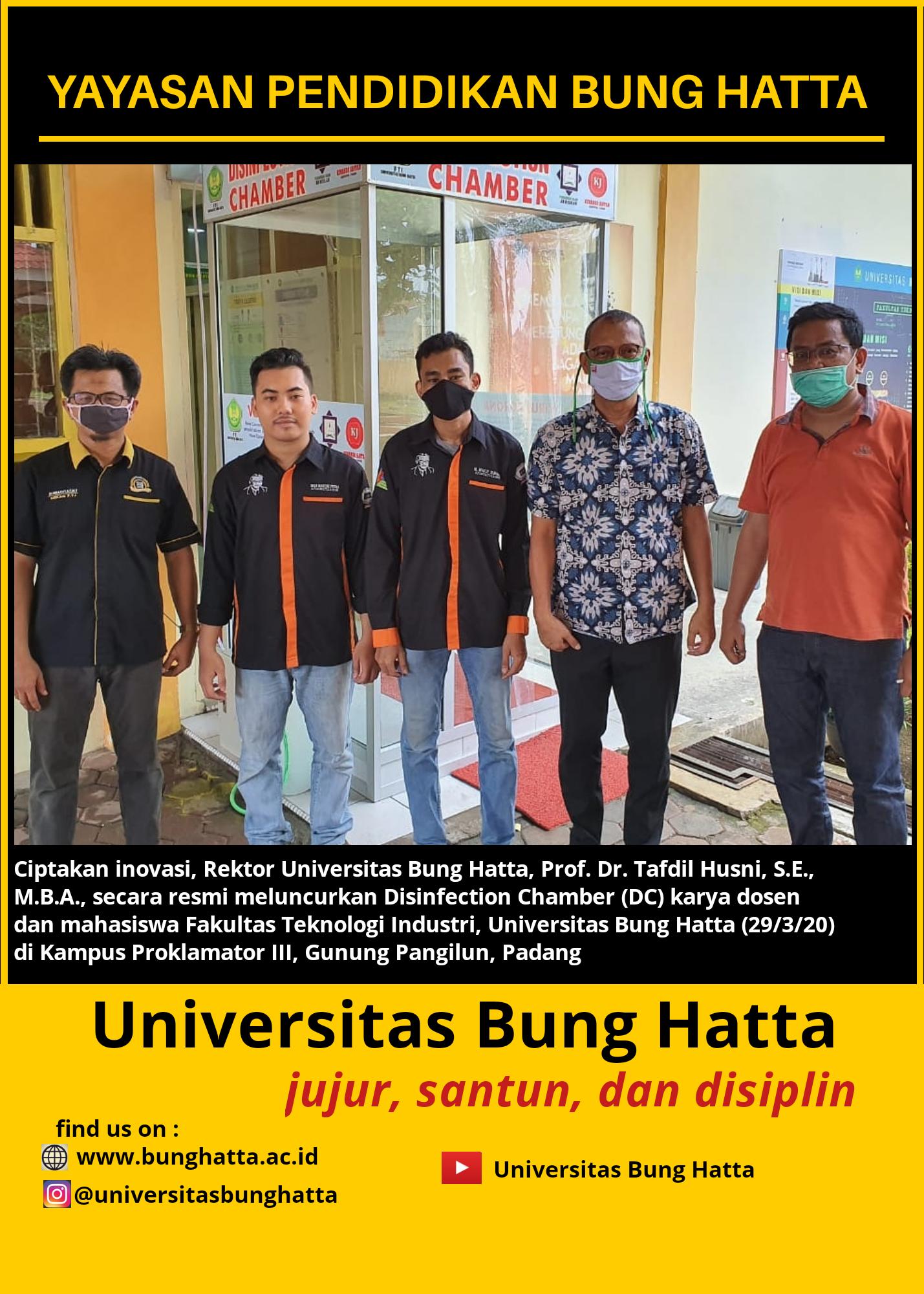Rektor Universitas Bung Hatta Resmikan Peluncuran Disinfection Chamber (DC) Karya Dosen dan Mahasiswa Fakultas Teknologi Industri