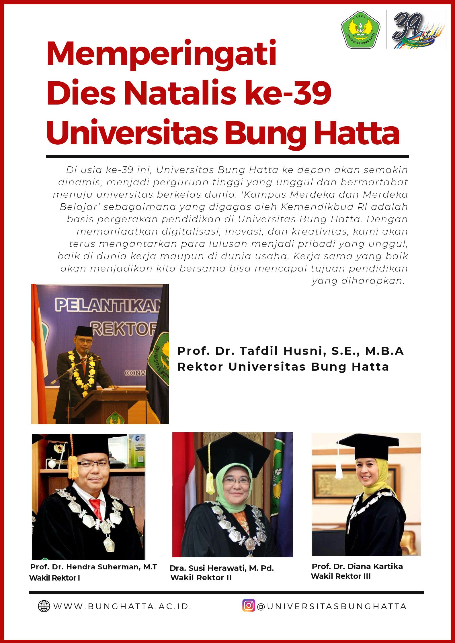 Genap Berusia 39 tahun, Universitas Bung Hatta Makin Diminati Masyarakat