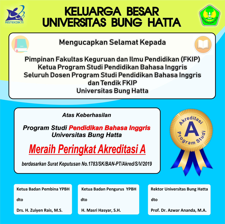 Prodi Pendidikan Bahasa Inggris (PING) FKIP Universitas Bung Hatta Raih Akreditasi A