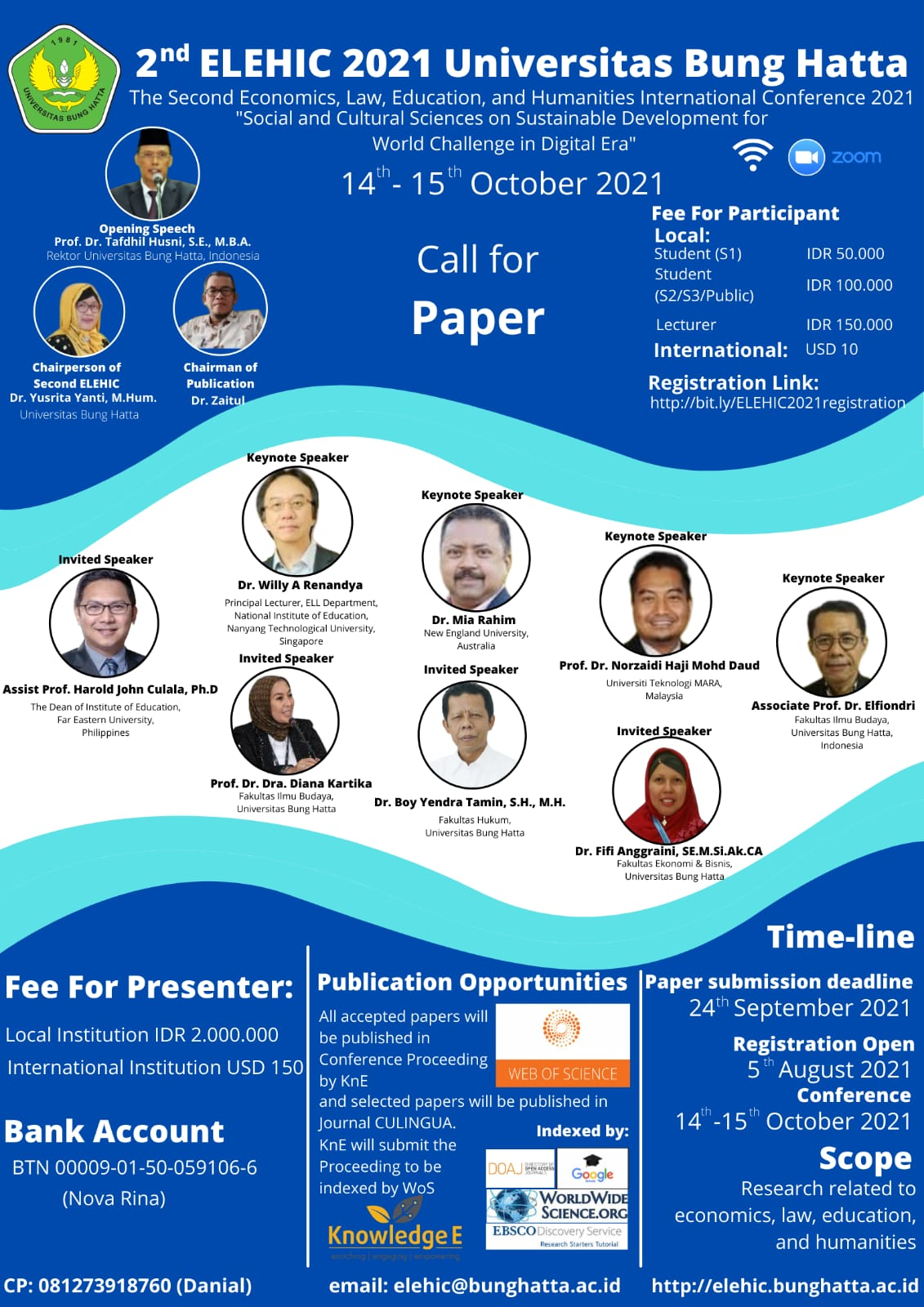 The Economics, Law, Education and Humanities International Conference (ELEHIC) 2021