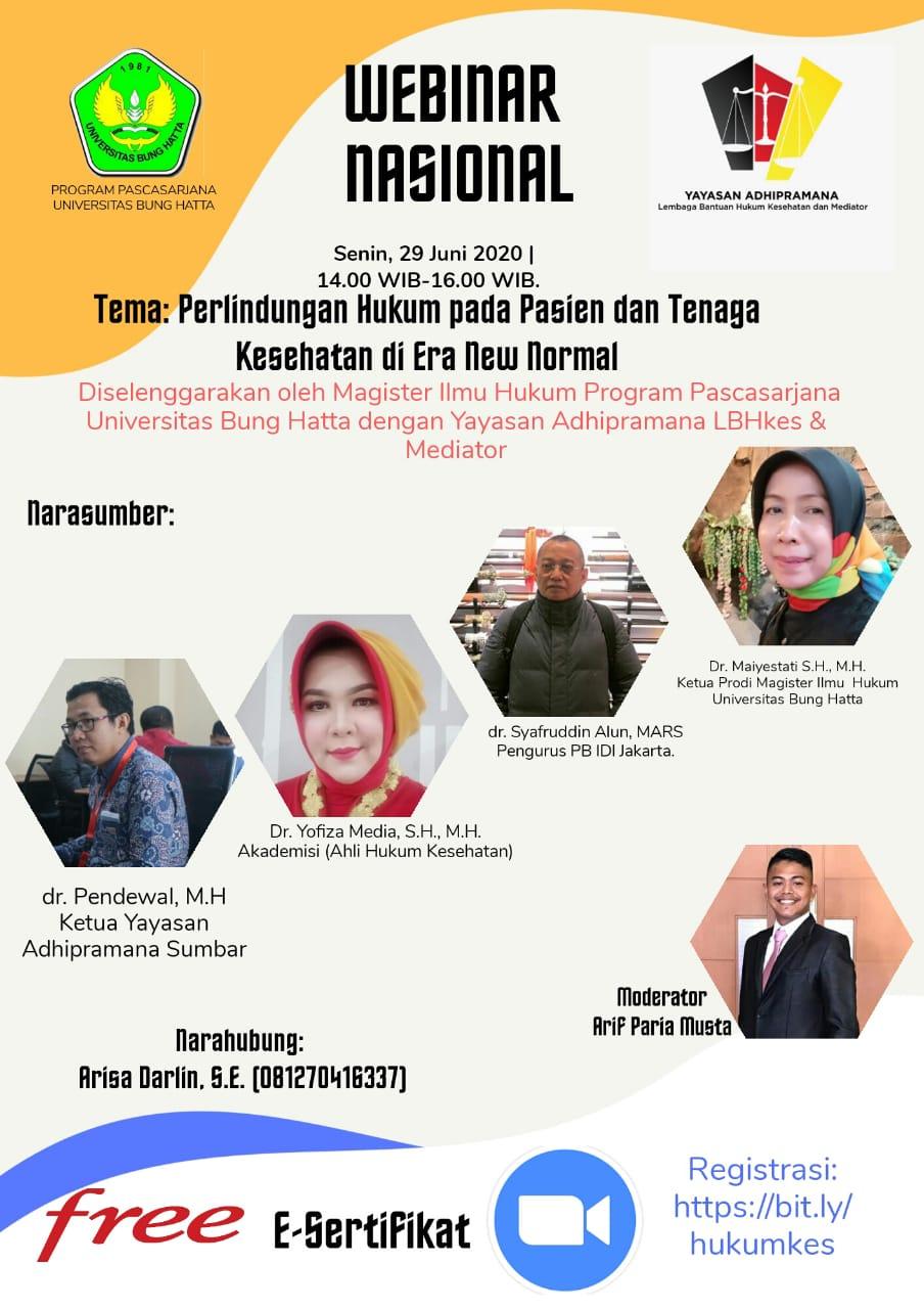 Webinar Program Magister Ilmu Hukum PPs Universitas Bung Hatta Bekerja Sama dengan Yayasan Adhipramana, Lembaga Bantuan Hukum & Mediasi