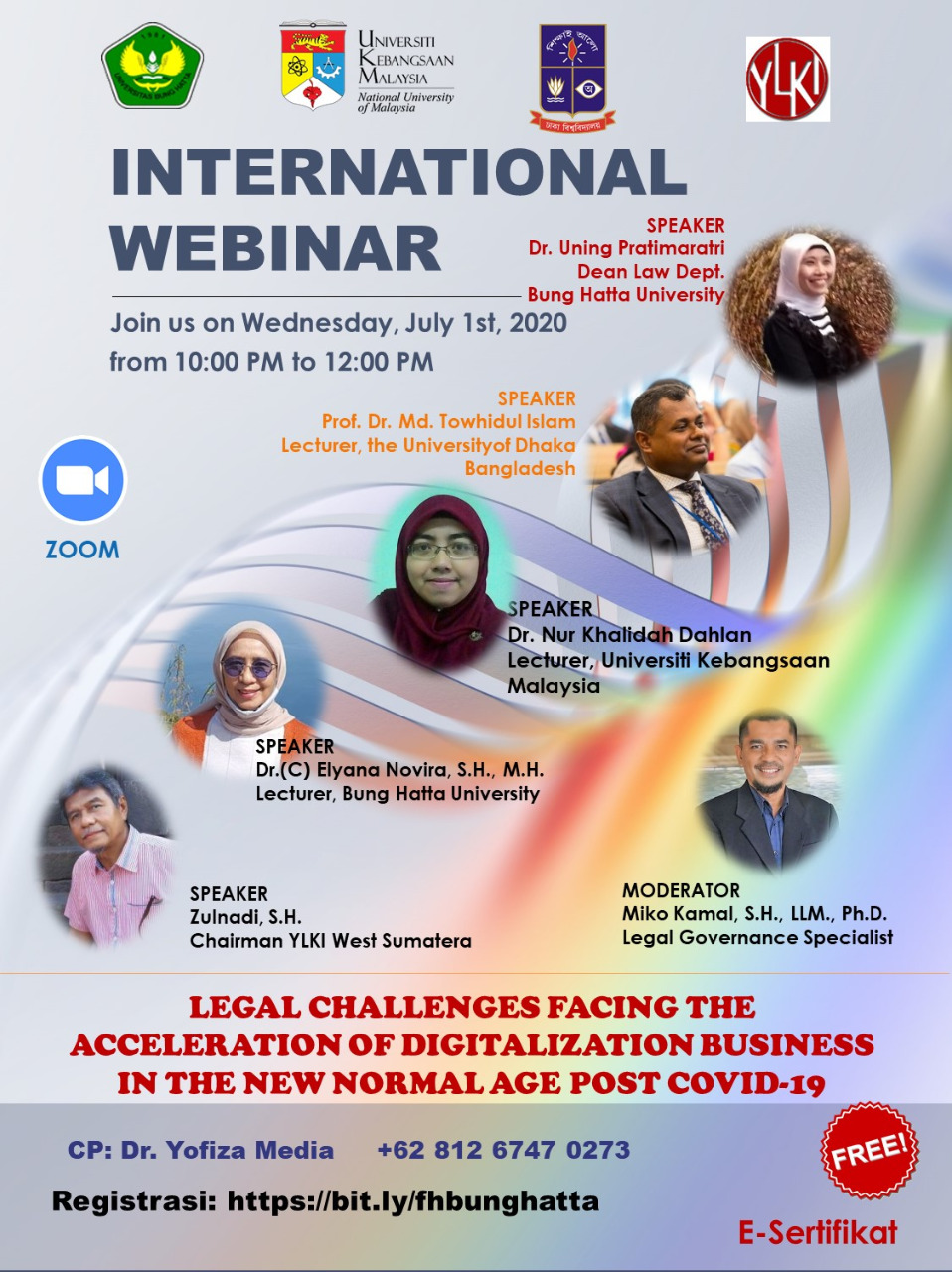 Fakultas Hukum Universitas Bung Hatta Sukses Selenggarakan Webinar Internasional