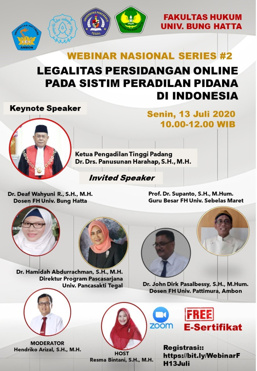 Fakultas Hukum, Universitas Bung Hatta Kembali Menggelar Webinar Nasional Series II