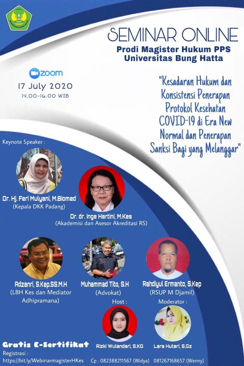 Program Magister Ilmu Hukum Program Pascasarjana Universitas Bung Hatta Menyelenggarakan Web Seminar (Webinar) Nasional Hukum Kesehatan