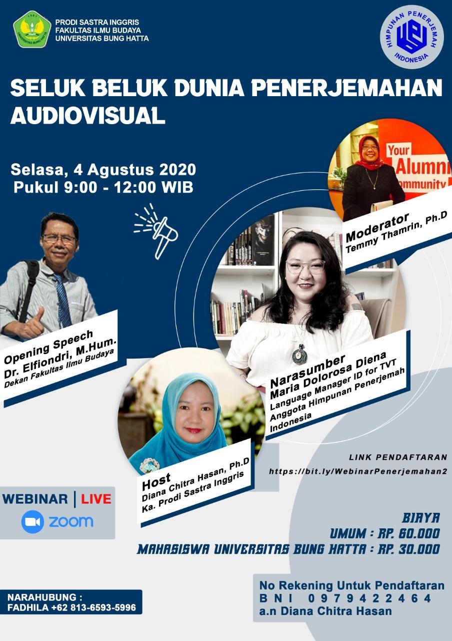 Webinar Program Studi Sastra Inggris Bekerja Sama dengan Himpunan Penerjemah Indonesia