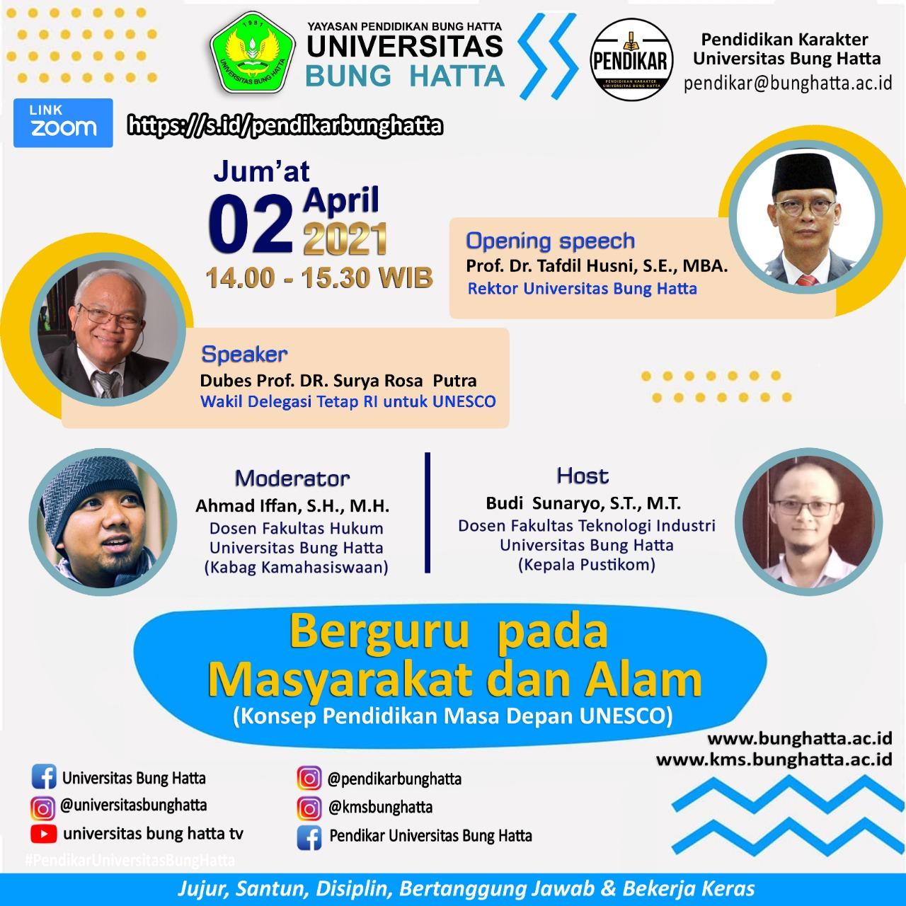 Wakil Delegasi Tetap RI untuk UNESCO Bakal Hadir untuk Mahasiswa Universitas Bung Hatta