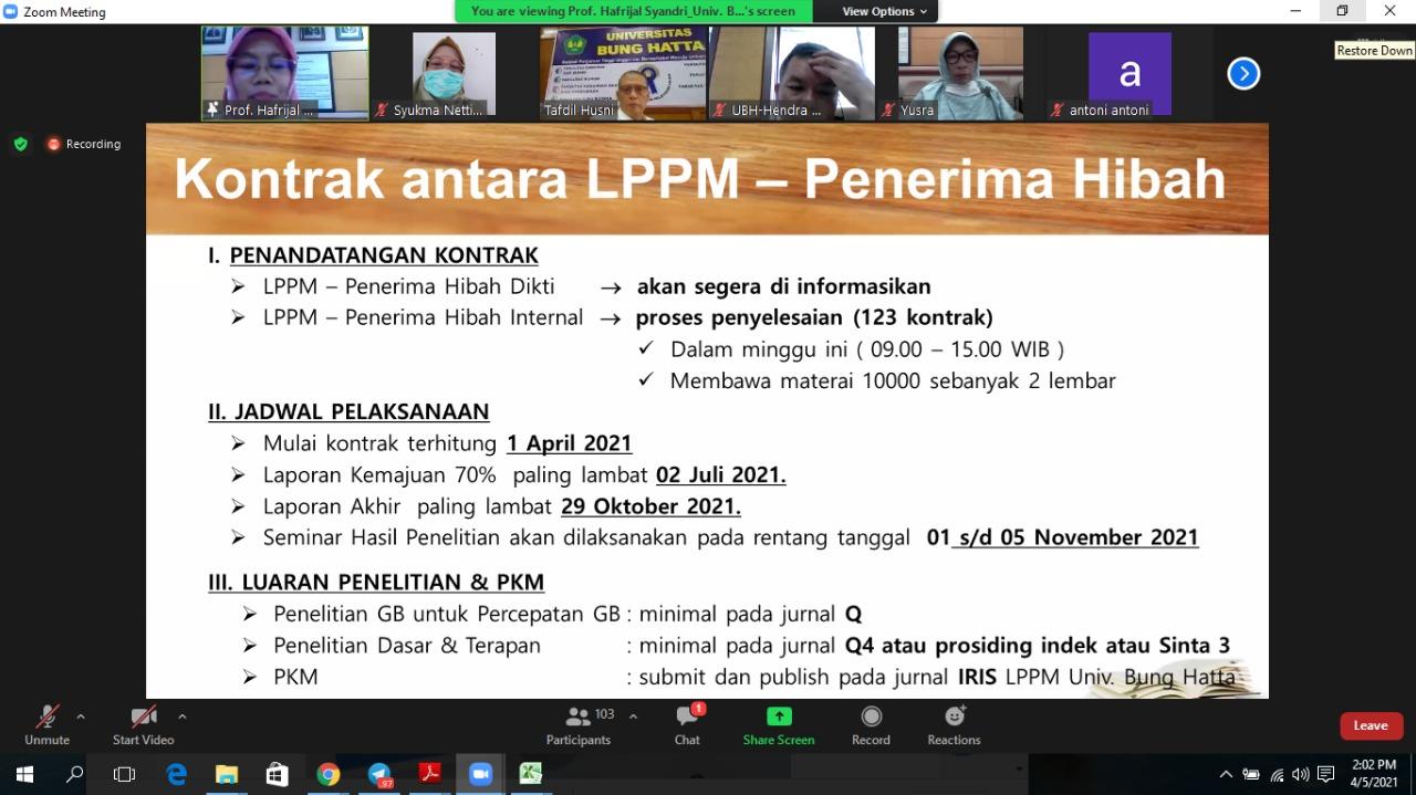 123 Proposal Lolos dalam Pendanaan Penelitian dan PKM LPPM Universitas Bung Hatta Anggaran 2021