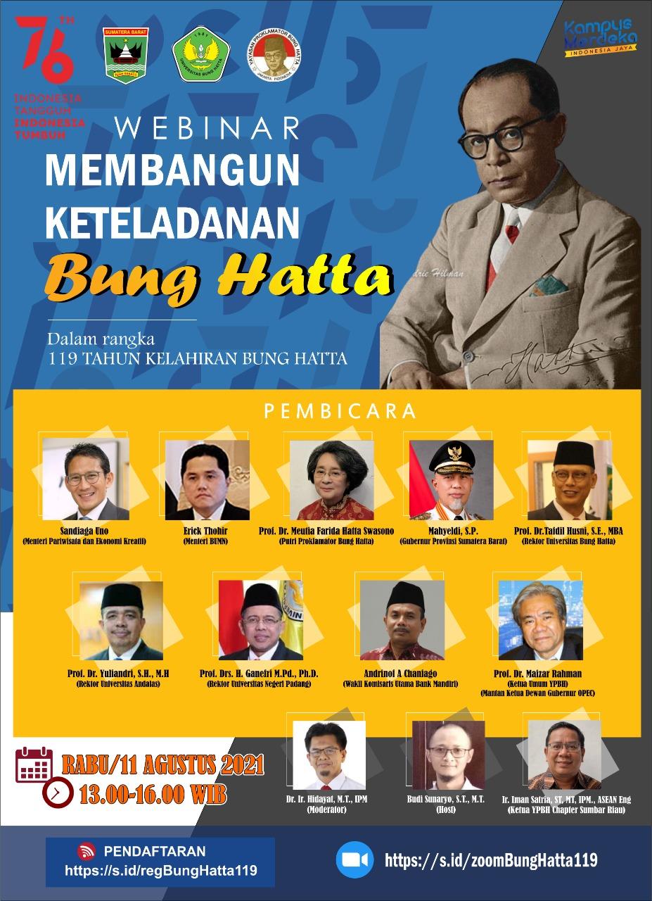 119 Tahun Proklamator Bung Hatta: Sandiaga Uno dan Erick Thohir Hadir untuk Mahasiswa Universitas Bung Hatta