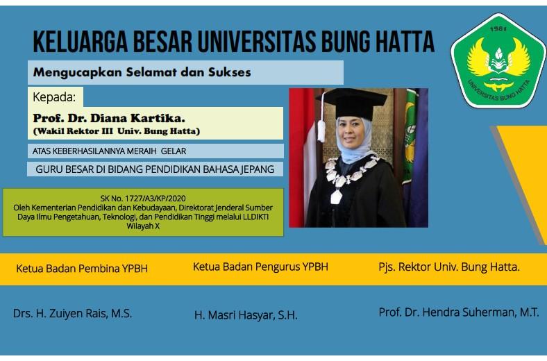 Selamat dan Sukses atas Diraihnya Gelar Guru Besar kepada Prof. Dr. Diana Kartika