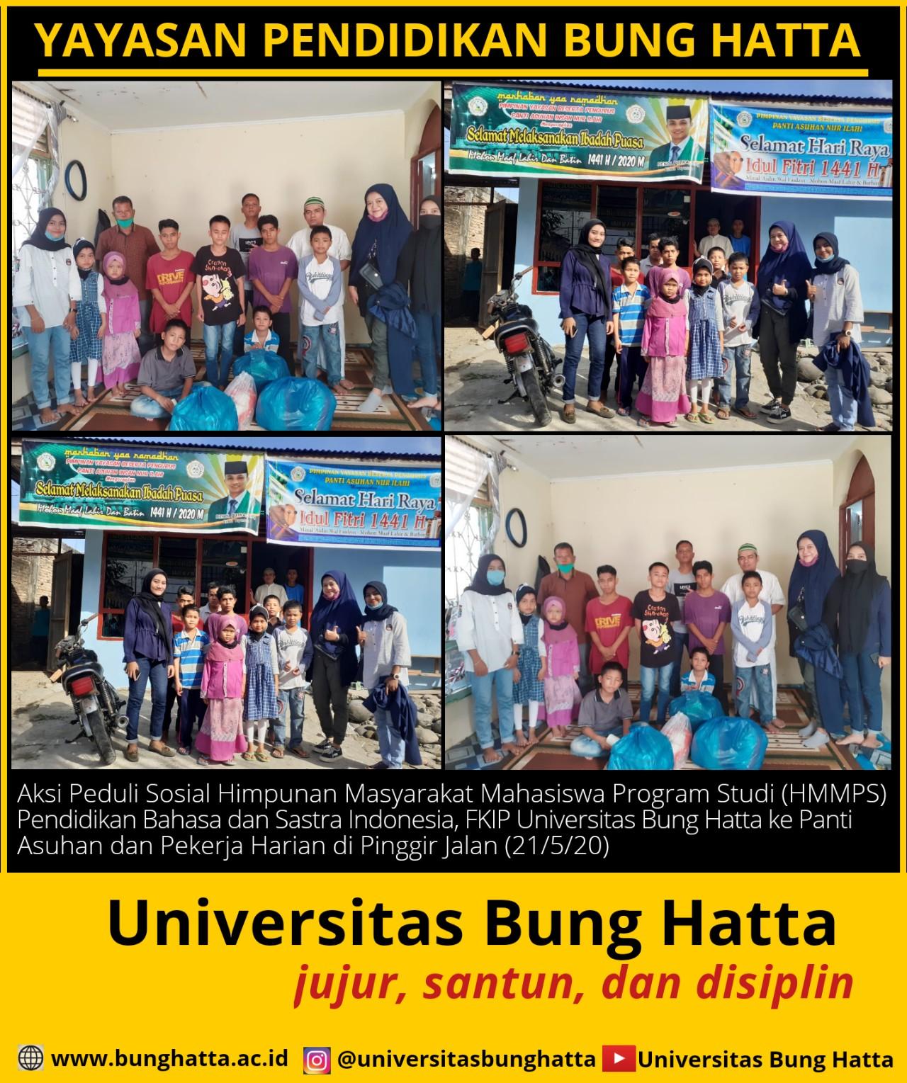 Gelar Aksi Sosial: Mahasiswa Pendidikan Bahasa dan Sastra Indonesia Universitas Bung Hatta Turun ke Jalan dan Panti Asuhan