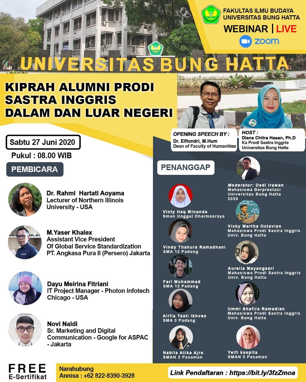 Webinar Sastra Inggris Fakultas Ilmu Budaya Universitas Bung Hatta