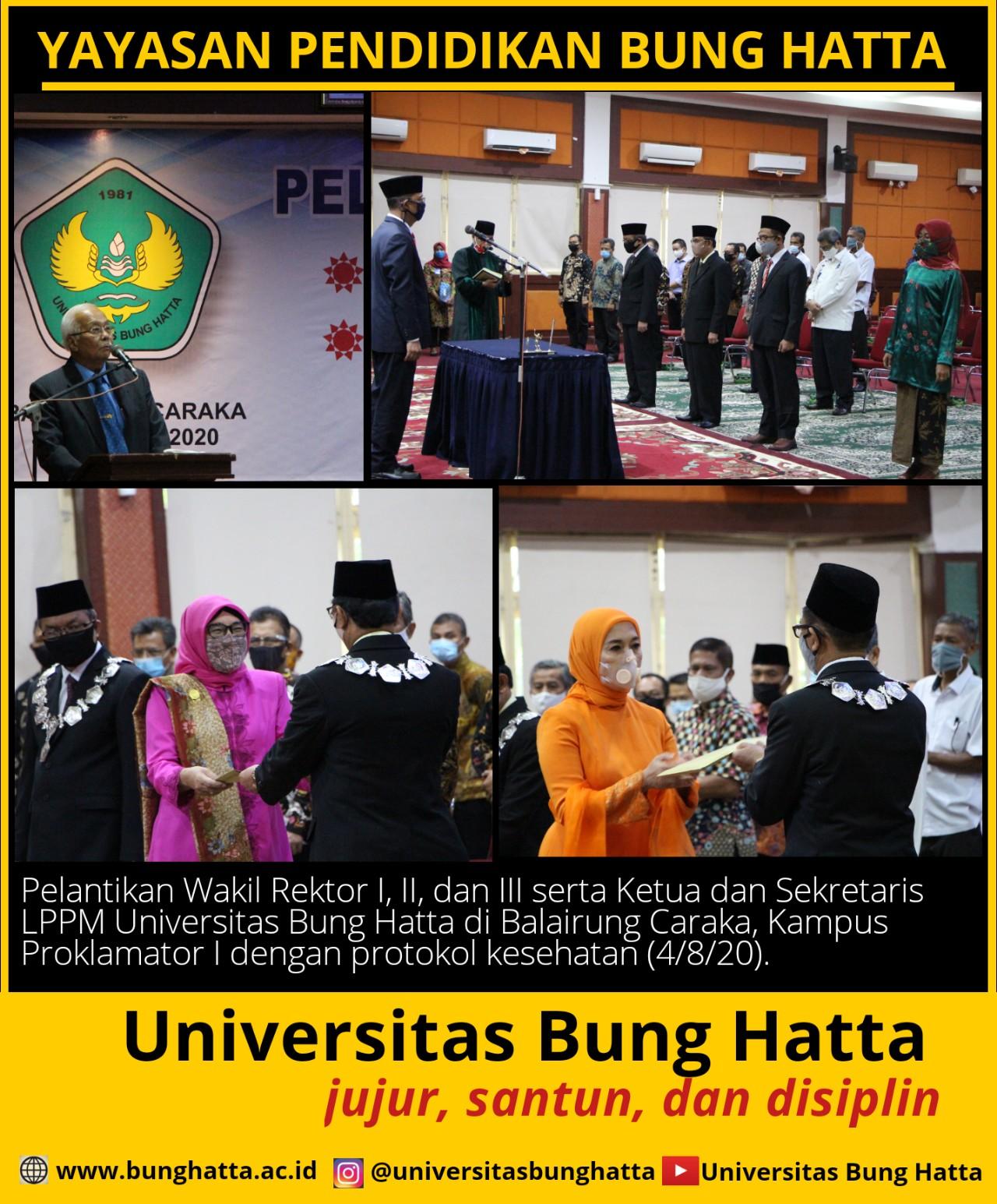 Pelantikan Wakil Rektor I, II, dan III Universitas Bung Hatta