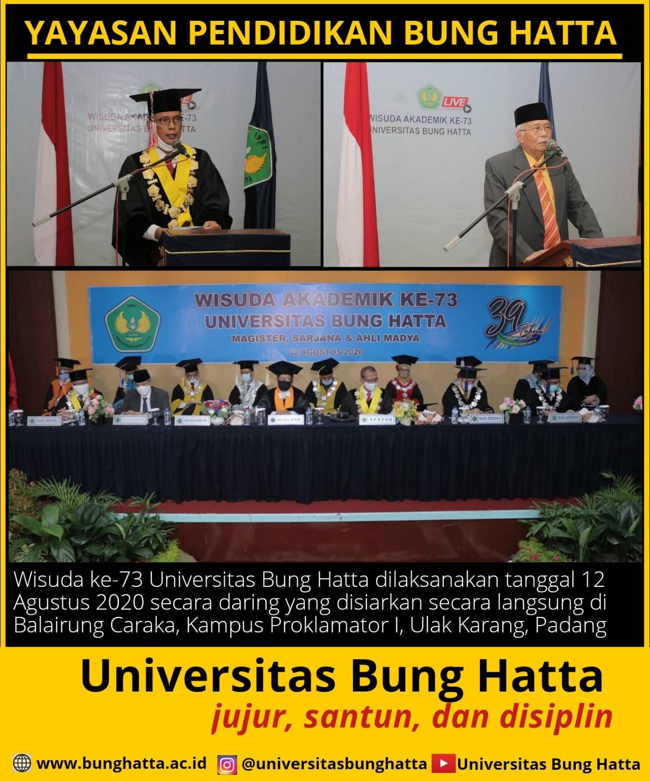 Pelaksanaan Wisuda ke-73 Universitas Bung Hatta