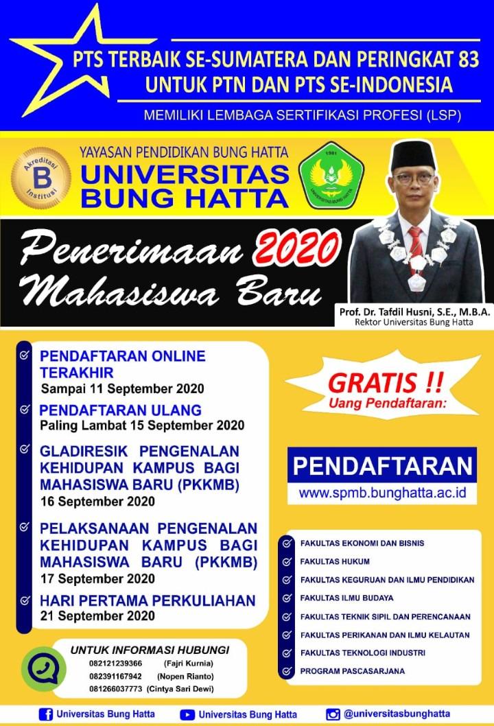 Informasi Pendaftaran Mahasiswa Baru Tahun Ajaran 2020/2021
