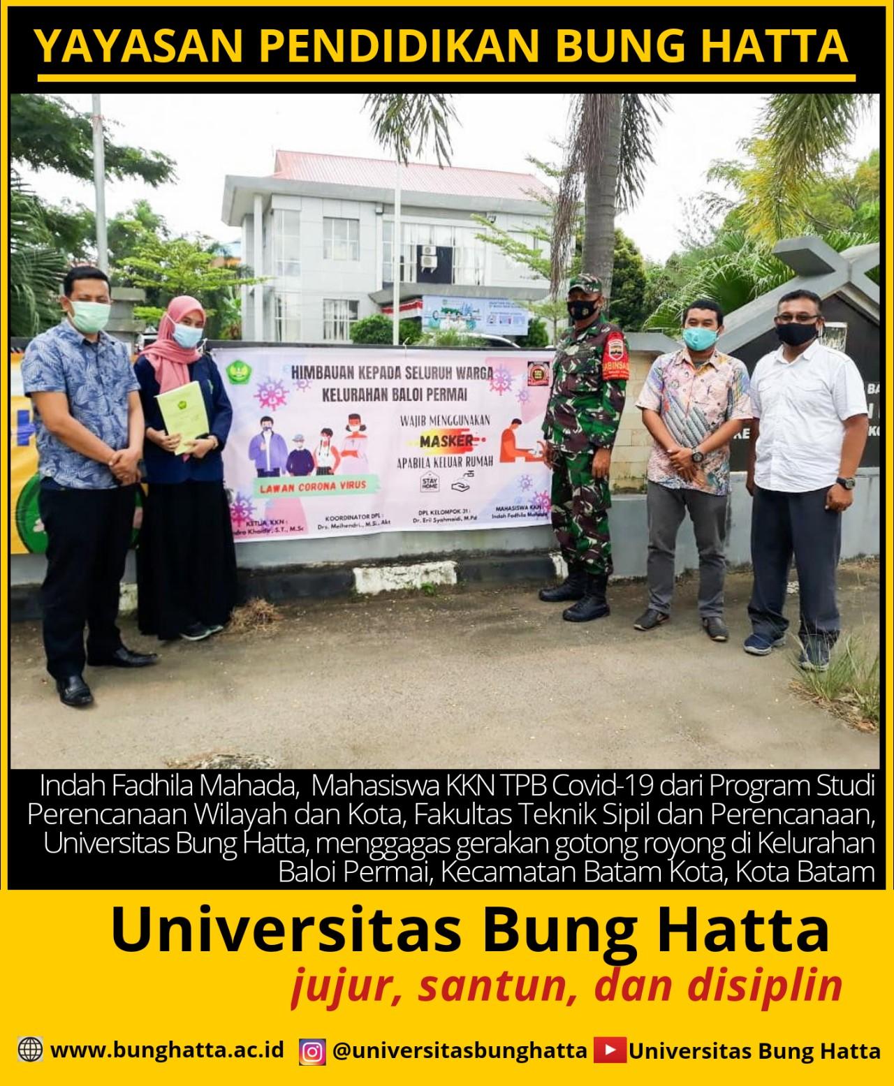 Mahasiswa KKN TPB Covid-19 Universitas Bung Hatta Gagas Gerakan Gotong Royong di Batam