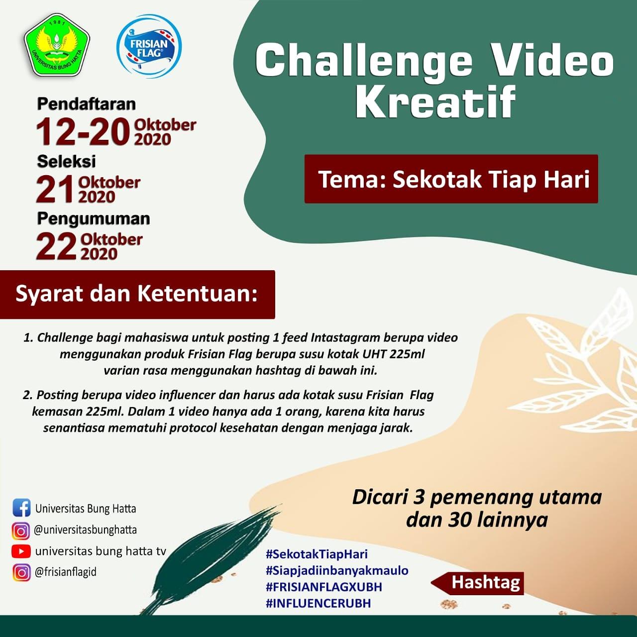 """Challenge Sekotak Susu dengan tema """"Universitas Bung Hatta: Gerakan Sehat Sekotak Susu"""""""