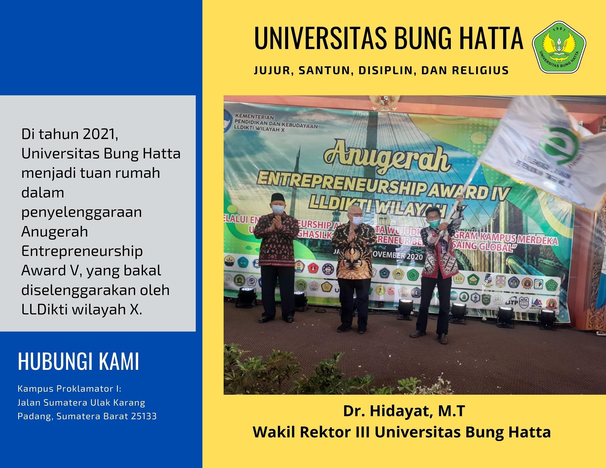 Bendera Pataka Entrepreneurship Award 2021 diterima oleh Universitas Bung Hatta