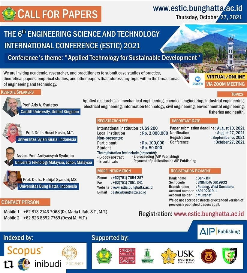 The 6th Engineering Science and Technology International Conference (ESTIC 2021)