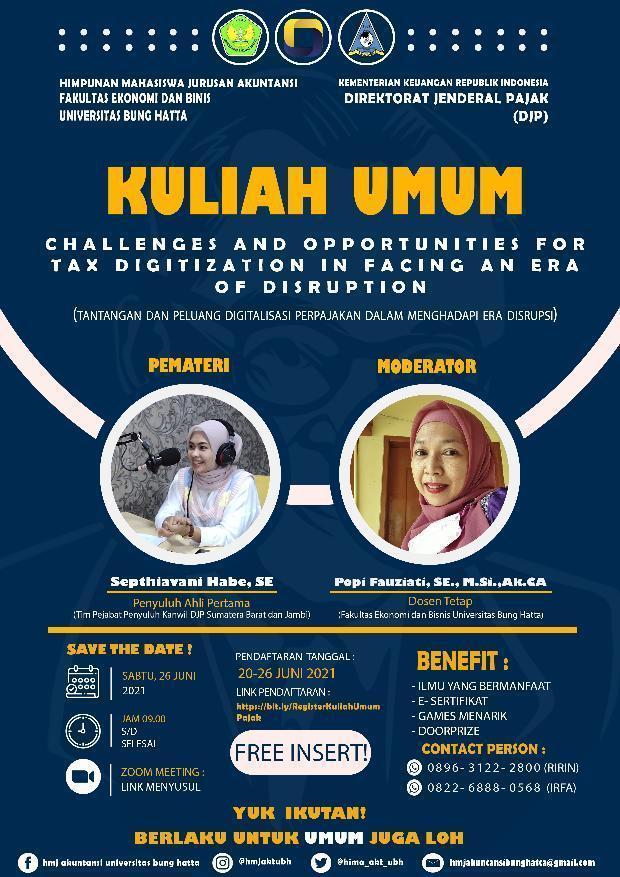 Mari Ikuti Kuliah Umum Pajak Bersama Tim Pejabat Penyuluh  Kanwil DJP Sumatera Barat dan Jambi
