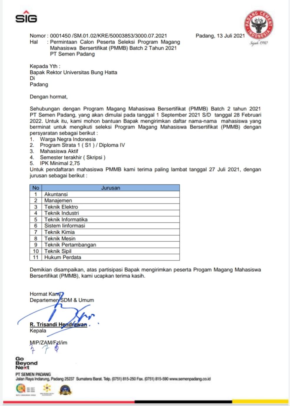 Daftarkan Diri Anda pada PMMB Batch II PT Semen Padang