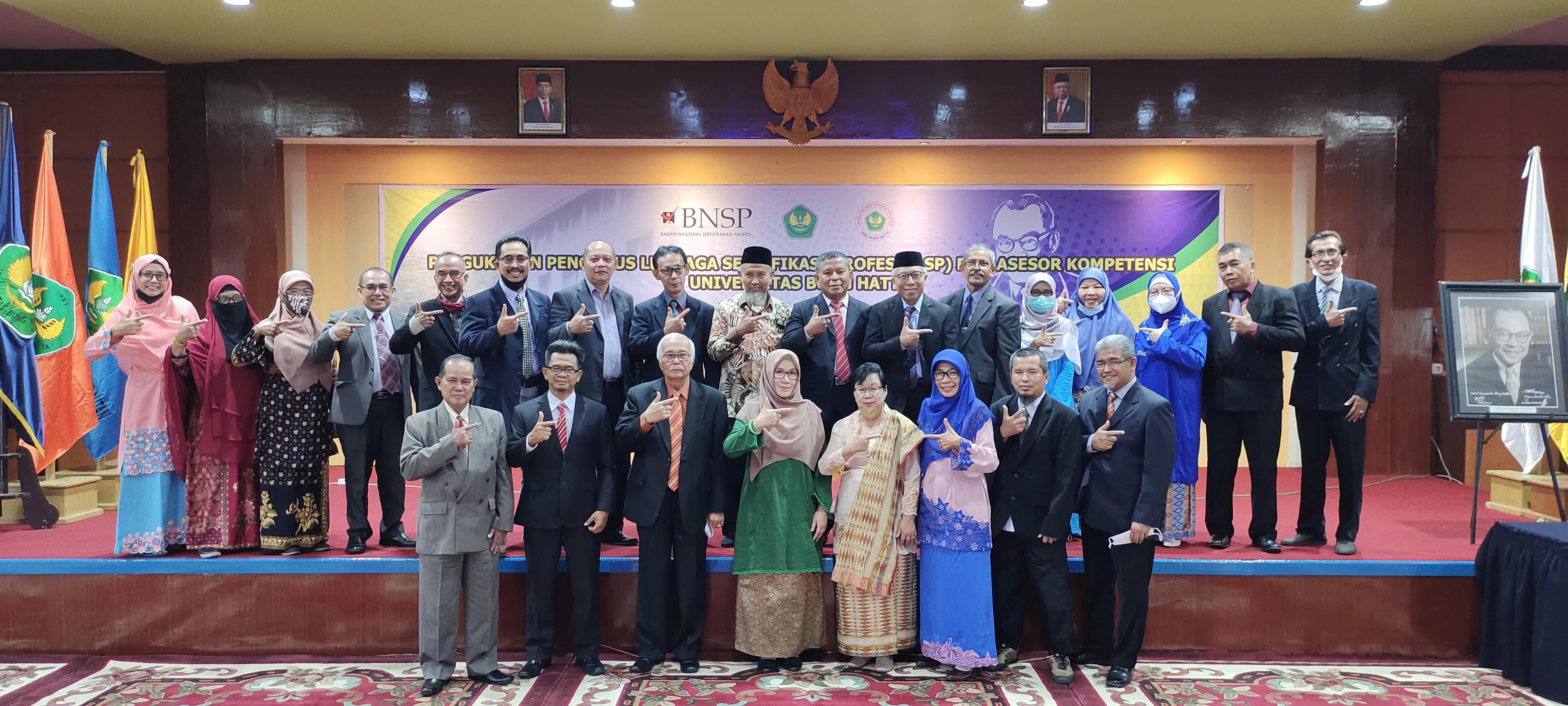 Lembaga Sertifikasi Profesi Universitas Bung Hatta Resmi Kukuhkan Pengurus Lembaga dan Asesor Kompetensi
