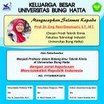 Prof. Dr. Eng. Reni Desmiarti, S.T., M.T., Guru Besar Termuda dari Prodi Teknik  ...